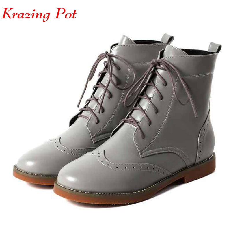 Krazing pot 2018 genuine leather lace up gorgeous round toe carving hollow decoration low heels for young girl ankle boots L33 bs93 l33