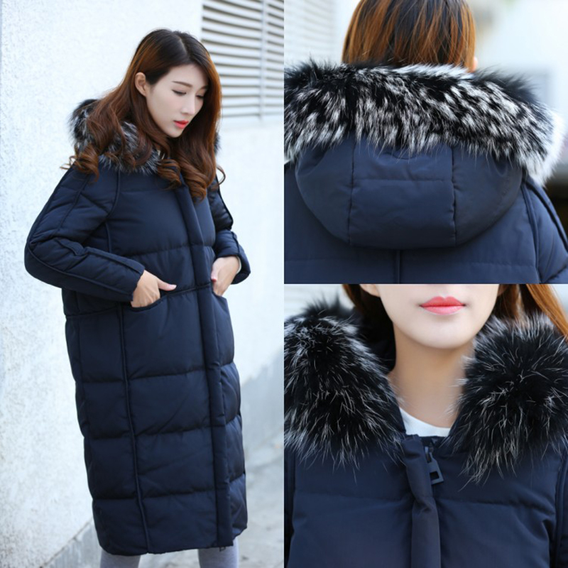 Winter Women Loose Warm Hooded   Coat   Jacket Female Woman Parka Long Fur Duck   Down     Coat   Women Fox Fur Collar Women Duck   Down   Caot