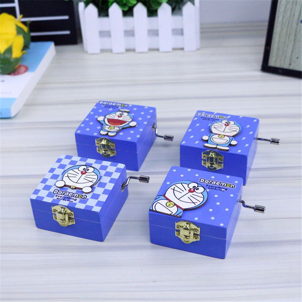 Cosplay Doraemon wooden hand-cranked mechanical clockwork  cat music box blue retro music box student birthday Christmas gifts