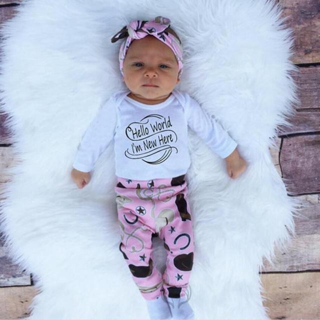 4 UNIDS Otoño Ropa de Bebé Niña Ropa de Recién Nacido Establece camiseta de Manga Larga + pantalón + sombrero + Traje Diadema nacido de Navidad