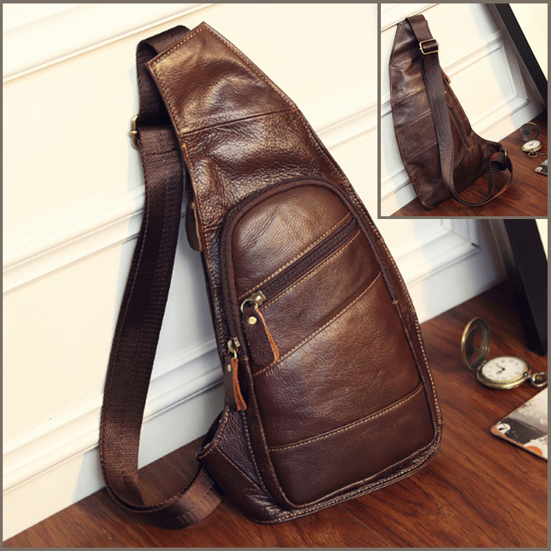 High Quality Men Genuine Leather Sling Chest Day Back Pack Vintage Male Crossbody Bags Travel Casual Shoulder Messenger Bag ultrafire mini t60 5 mode 910 lumen white led flashlight with strap black 1 x 16340