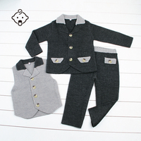 Boy Suits Set Blazer Waistcoat Pants Kids Formal Outfits Knit Full Sleeves Clothes Fashion Party Weddings Boy's Knit Suit Set