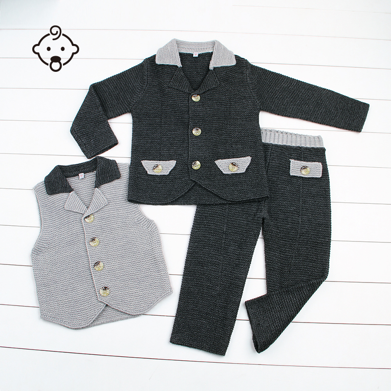 Boy Suits Set Blazer Waistcoat Pants Kids Formal Outfits Knit Full Sleeves Clothes Fashion Party Weddings Boy's Knit Suit Set|Clothing Sets| |  - title=