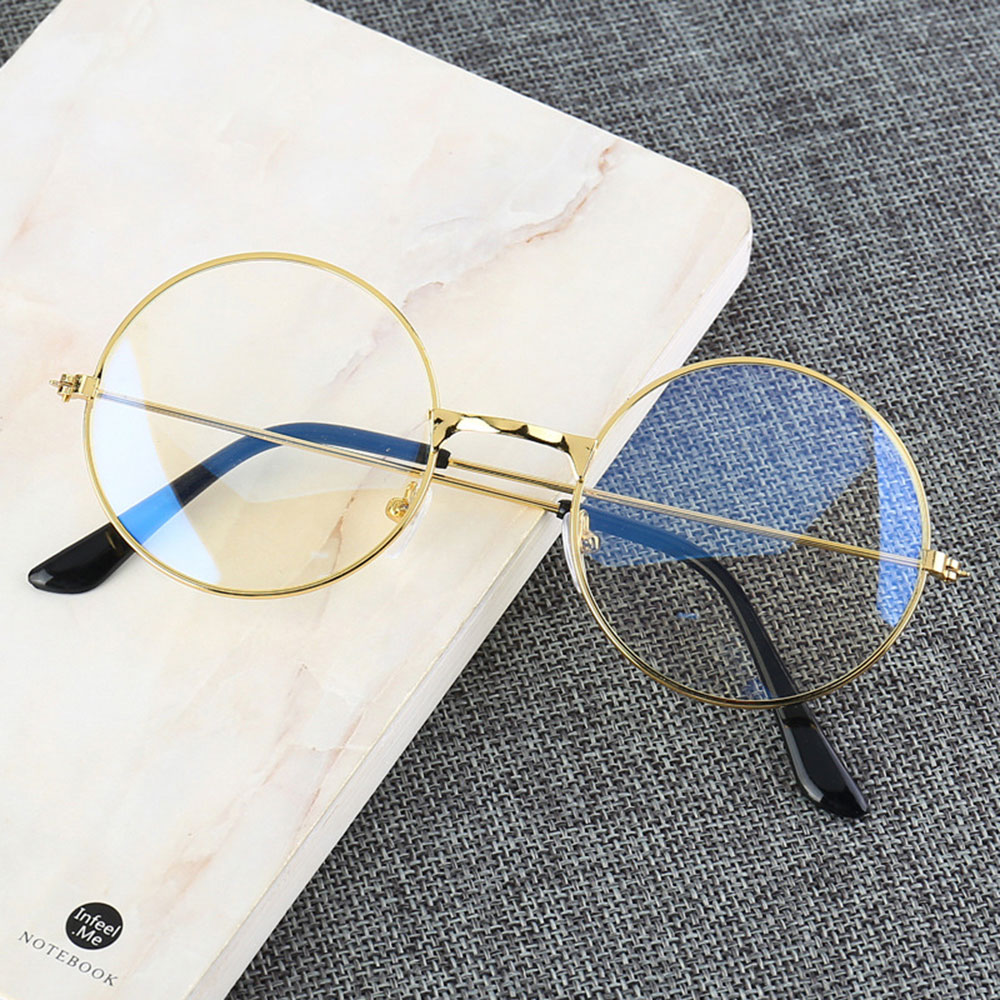 2019 Women/Men Vintage Glasses Frame Retro Large Round Glasses Transparent Metal Eyeglass Frame Eyewear Spectacles Accessories