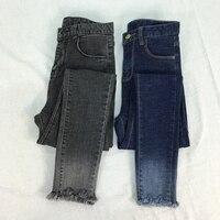 Ince Legging Gri Kot Ayak Bileği Uzunluğu Kadın Pantolon Kalem Pantolon Degrade Yüksek Bel Kravat Boya Jeans