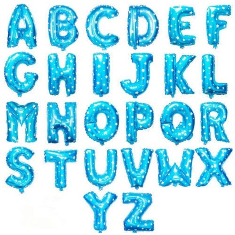 Blue 40cm 16 Inches A-Z Alphabet Foil Balloons English Letters Party Hat  Digit Air Ballons Wedding Birthday Party For Kids Toys