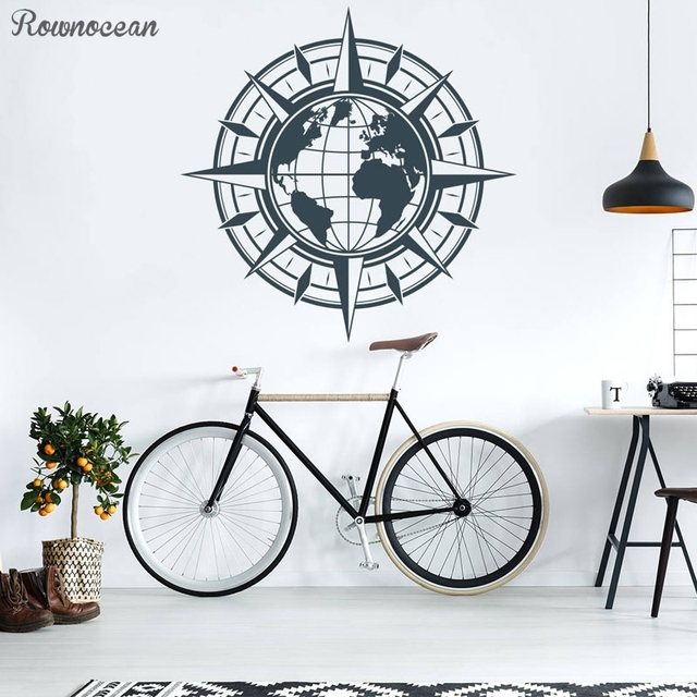 US $8 23 20% OFF|Compass Rose Wall Decal Nautical Decor Compass Globe World  Map Vinyl Sticker Travel Wall Decal Self adhesive Wallpaper Z254-in Wall