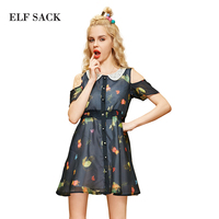 Elf SACK Yw Sweetheart Summer Female Slim Print Organza Sleeveless Strapless One Piece Dress Short Skirt