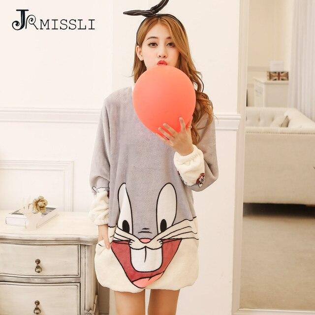 JRMISSLI Winter Bugs Bunny Flannel Nightgowns For Women Home Dress ...