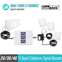 طقم هوائي داخلي 3 قطعة 2G 3G 4G 900 1800 2100 ثلاثي الموجات إشارة الهاتف الخليوي مكرر ALC مكبر للصوت الداعم GSM WCDMA LTE #8 + 1
