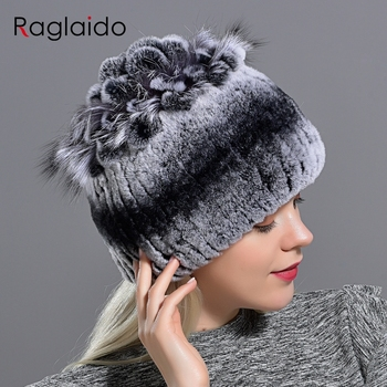 Raglaido Fur Hats for Women Winter Real Rex Rabbit Hat Fox fur kniting female warm snow caps ladies elegant princess beanies cap