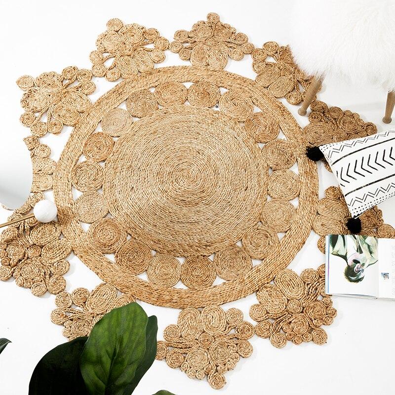 Tapis jute géométrique bohême tapis indien Floral pastorale moderne rond tapis de chevet maroc français chic design Iran style nordique