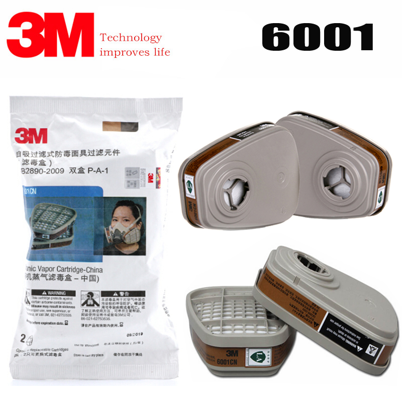 1pair/2pair/5pair/9pair 3M 6001 Organic Vapor Respirator Filter Cartridge For 3M 7502 6200 6800 Gas Mask(China)