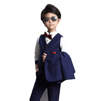 Han Edition Suits Gentleman Boy Suit Autumn and Winter Children's Wear Three piece Suit Baby Boy Suit