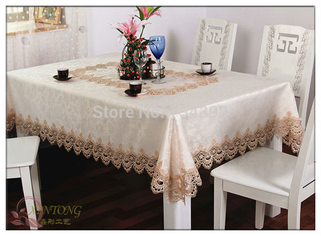 European Luxury Tablecloth Fabric Lace Tablecloth Table Runner Coffee Table  Cloth Rectangle Square Round Oval Table