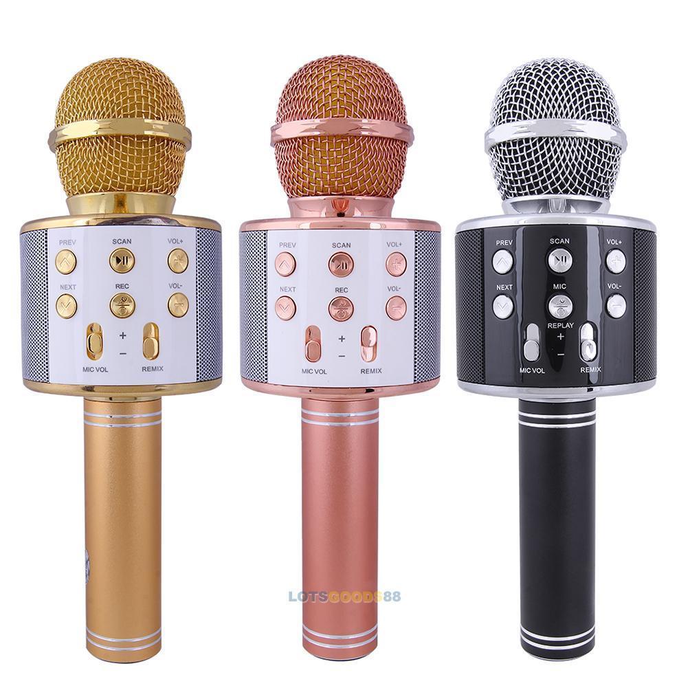 WS-858 Karaoke Easy hold Microphone USB KTV Player Wireless Bluetooth Speaker