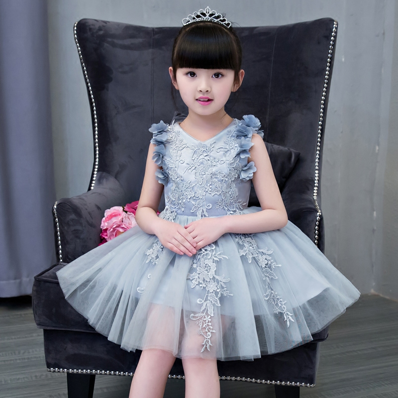 New Princess Girls V-neck Dresses Summer 2017 Children Embroidery Flowers Ball Gown Party Clothing Toddler Girl Tutu Kids Dress new year formal gown princess summer 2017 new party dress girl children clothing prom wedding kids clothes girls tutu dresses