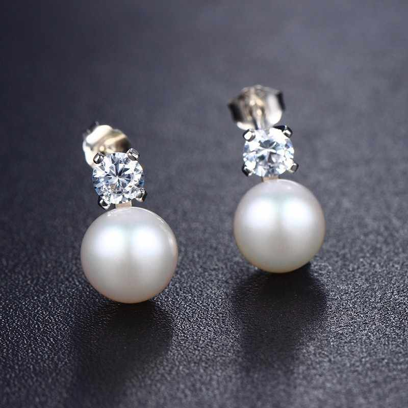 2019 New Punk Black Pearl Stud Earrings for fine women jewerly Top Quality CZ Strong light Black Earrings, AAAA Freshwater Pearl