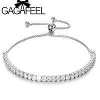 GAGAFEEL 925 серебряные ювелирные изделия AAA кубический цирконий теннисные браслеты Браслеты Регулируемая цепь браслет белый камень подарки