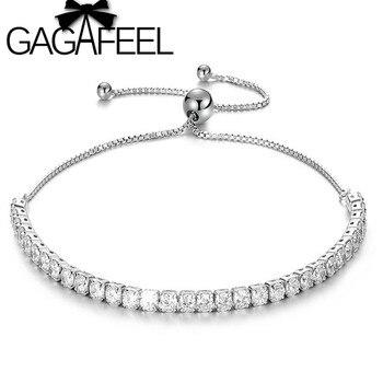 522756aebac7 GAGAFEEL 925 joyas de plata AAA Cubic Zirconia pulseras brazaletes  ajustable pulsera de cadena de enlace blanco Birthstone regalos
