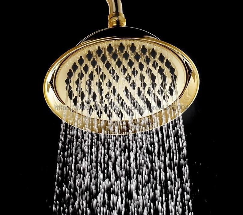 8 2 Inch Gold Brass Shower Head Water Rains Shower Head With Shower Bathroom Set Shower
