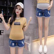 Summer Denim Maternity Jean Shorts Pregnancy Pants Elastic Waist Adjustable Belly Short Hole Jeans Pants for Pregnant Women цена и фото