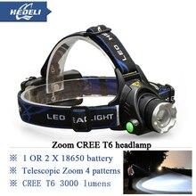 linterna 2000 lumens zoom headlight cree xm l t6 led headlamp 18650 rechargeable head lamp flashlight head camping lantern torch