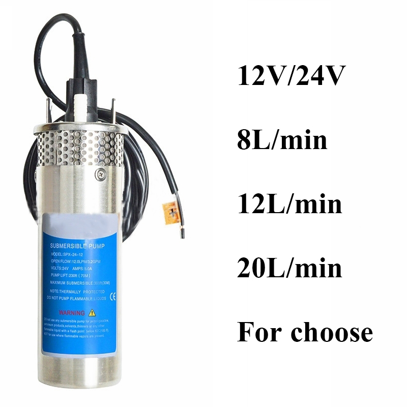 12V/24V Large Flow Lift=70M Mini Submersible Solar Energy Water Pump Outdoor Garden Deep Well Car Wash Bilge Cleaning 12 24 V image