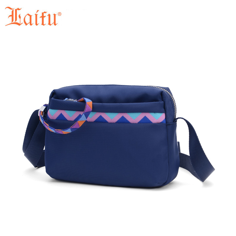 Laifu Geometric Decoration Women Messenger Bag Nylon Waterproof Crossbody Bags Girls Shoulder Bags Original Brand Black Blue