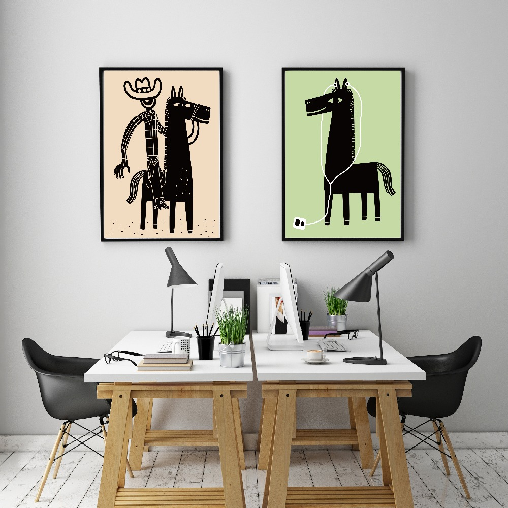 popular cowboy canvas art buy cheap cowboy canvas art lots from oubei wall cowboy and horse cartoon simple canvas art a4 poster painting wall decor pictures for