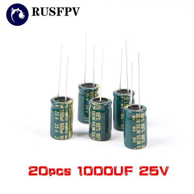 20 piezas 1000 UF 25 V FM resistencia interna de alta frecuencia de condensador para RC FPV Racing Drone 30A 40A CES F3 f4 F7 de Control de vuelo