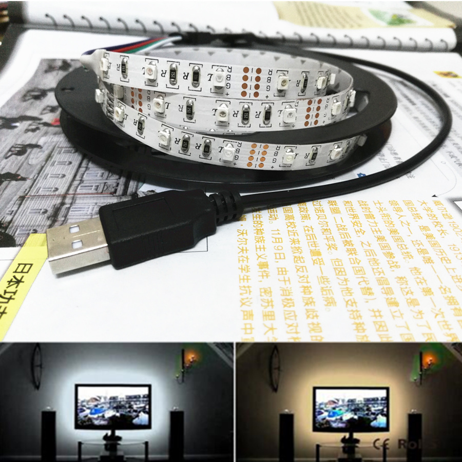 DC 5V 6V 50CM 1M 2M 3M 4M 5M USB Cable Power RGB LED strip light Tape SMD 3528 desk Decor lamp For computer TV Background kinlams 5v 50cm 1m 2m 3m 4m 5m usb cable power led strip light smd2835 3528 christmas desk lamp tape for tv background lighting