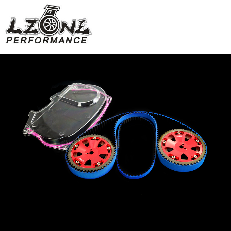 LZONE RACING - HNBR Racing Timing Belt + Aluminum Cam Gear + Clear Cam Cover For Mitsubishi Lancer Evolution EVO 9 IX Mivec 4G63 vr racing hnbr racing timing belt aluminum cam gear clear cam cover for mitsubishi lancer evolution evo 9 ix mivec 4g63