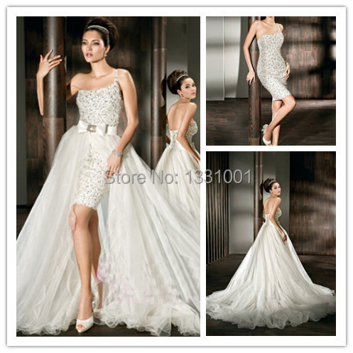 2 In 1 Wedding Dress Long And Short Bridal Dresses 2016 New Arrival ...
