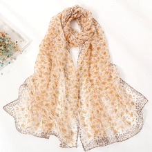 Spring and summer womens small floral scarf thin section georgette long scarfs for ladies