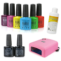 Best Quality Mabeau 73 Colors (Any 6 Colors + Base &  No Wipe Top coat+ Cleanser Plus+36W UV Lamp) UV Gel Led Color Nail Polish