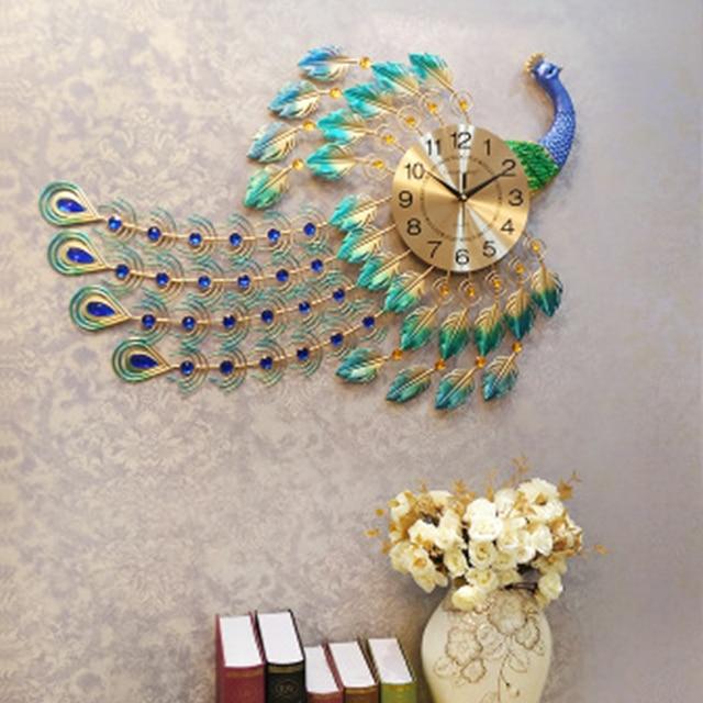 Large Wall Clock Peacock Diamond Quartz Wall Clocks Metal Living Room Bedroom Digital Needle Wall Clock Home Decoration