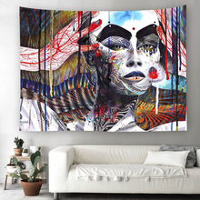 African women Watercolor printed Tapestry Mandala Wall Hanging For Decoration Hippie Beach Towel Yoga Mat