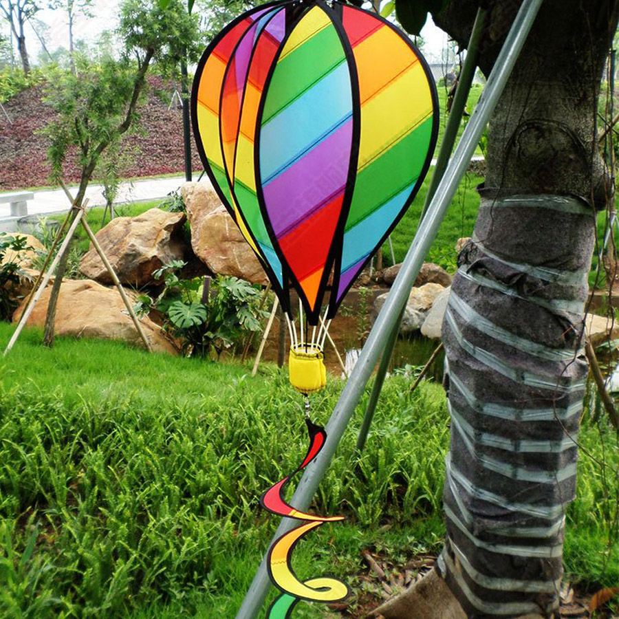 Large Rainbow 51 Hot Air Balloon Kite Wih Wind Spinner Tail For Outdoor Garden Decor Kid