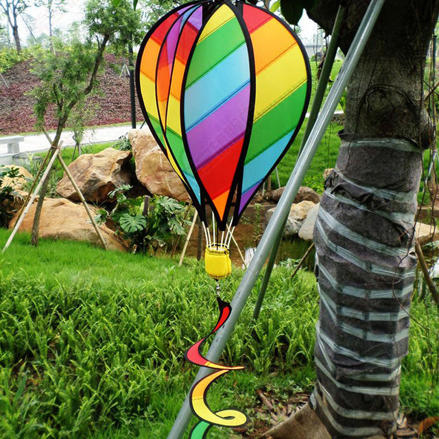 Large Rainbow 51 Hot Air Balloon Kite Windsock Wind Spinner Tail Garden Yard Lawn Decor