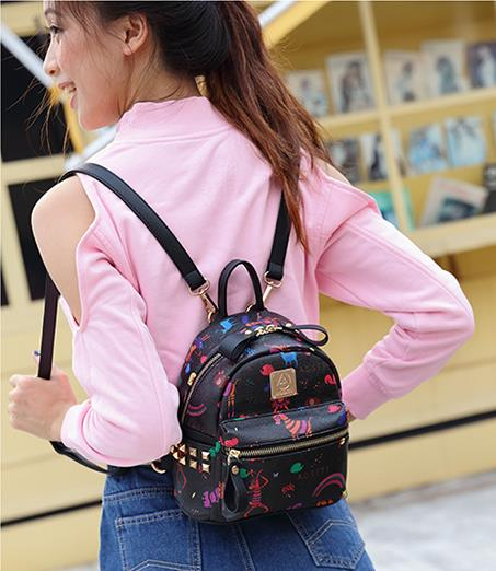 New Korean Casual Women Leather Backpacks Hot Sale High Quality Cute Cartoon Animals Pattern Backpacks For