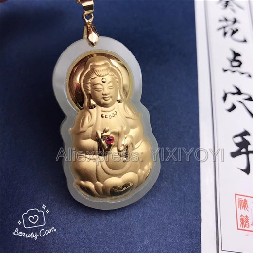 Natural White Hetian Jade + 18K Solid Gold Inlaid GuanYin Amulet Lucky Pendant + Free Necklace Fine Jewelry + Certificate wonderful handwork natural grade a green jadeite carved turtle crane lucky amulet pendant free necklace certificate jewelry