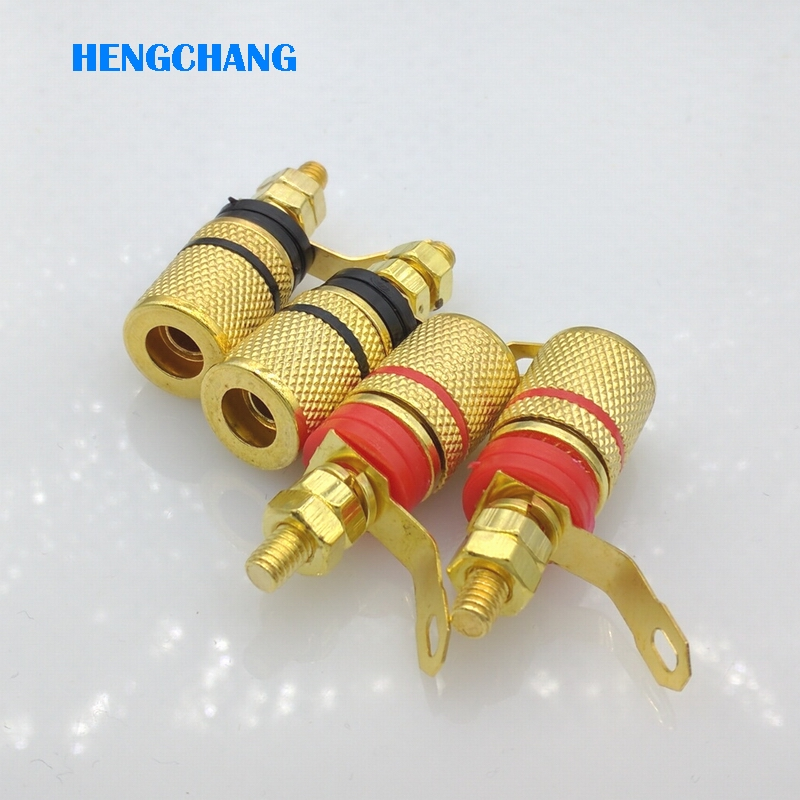 4pcs/lot 4mm banana plug binding post for loudspeaker box Power Amplifier Socket Terminals Free shipping 4pcs brass gold plated binding post for thread audio speaker amplifier 4mm banana plug terminals connector black