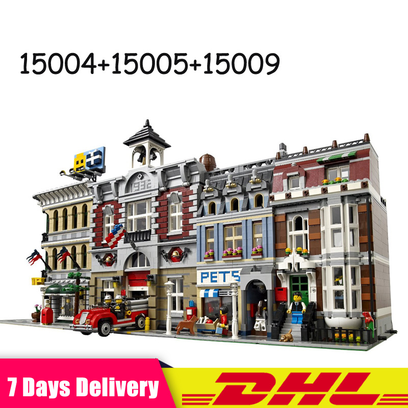 Lepin 15004 15009 15005 Fire Brigade Pet Shop Grand Emporium Bricks Blocks Toys for Children Gifts Compatible 10197 10218 10211