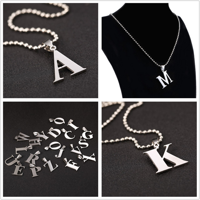 a4497a5d1c218 Alphabet A Z Letter Necklace For Women Initial Name Necklaces   Pendants  Pave Silver Color Female Monogram New Year Gifts-in Pendant Necklaces from  Jewelry ...