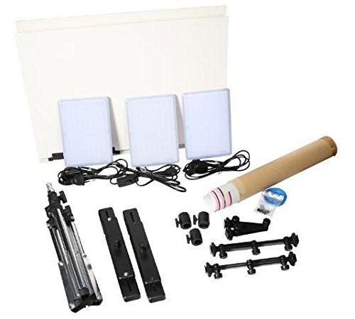 Nanguang CN T96 3 light Kit 5600K 96PCS LED Light Lamp 18W + Mini Shooting Bracket Stand Set Photographic Lighting Kit