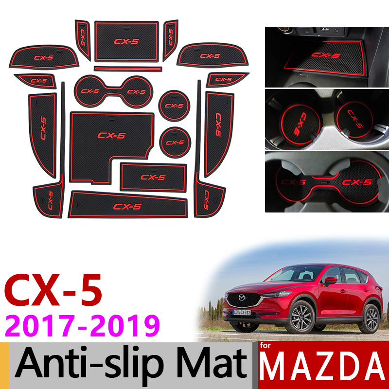Anti-Slip Rubber Gate Slot Mat Cup Mats for Mazda <font><b>CX</b></font>-<font><b>5</b></font> 2017 <font><b>2018</b></font> 2019 MK2 KF CX5 <font><b>CX</b></font> <font><b>5</b></font> Internal Accessories Stickers Car Styling image