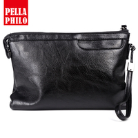 2018 Famous Brands Black Organizer Wallets Zipper Cow Leather Men Clutch Bags Big Capacity Cell Phone