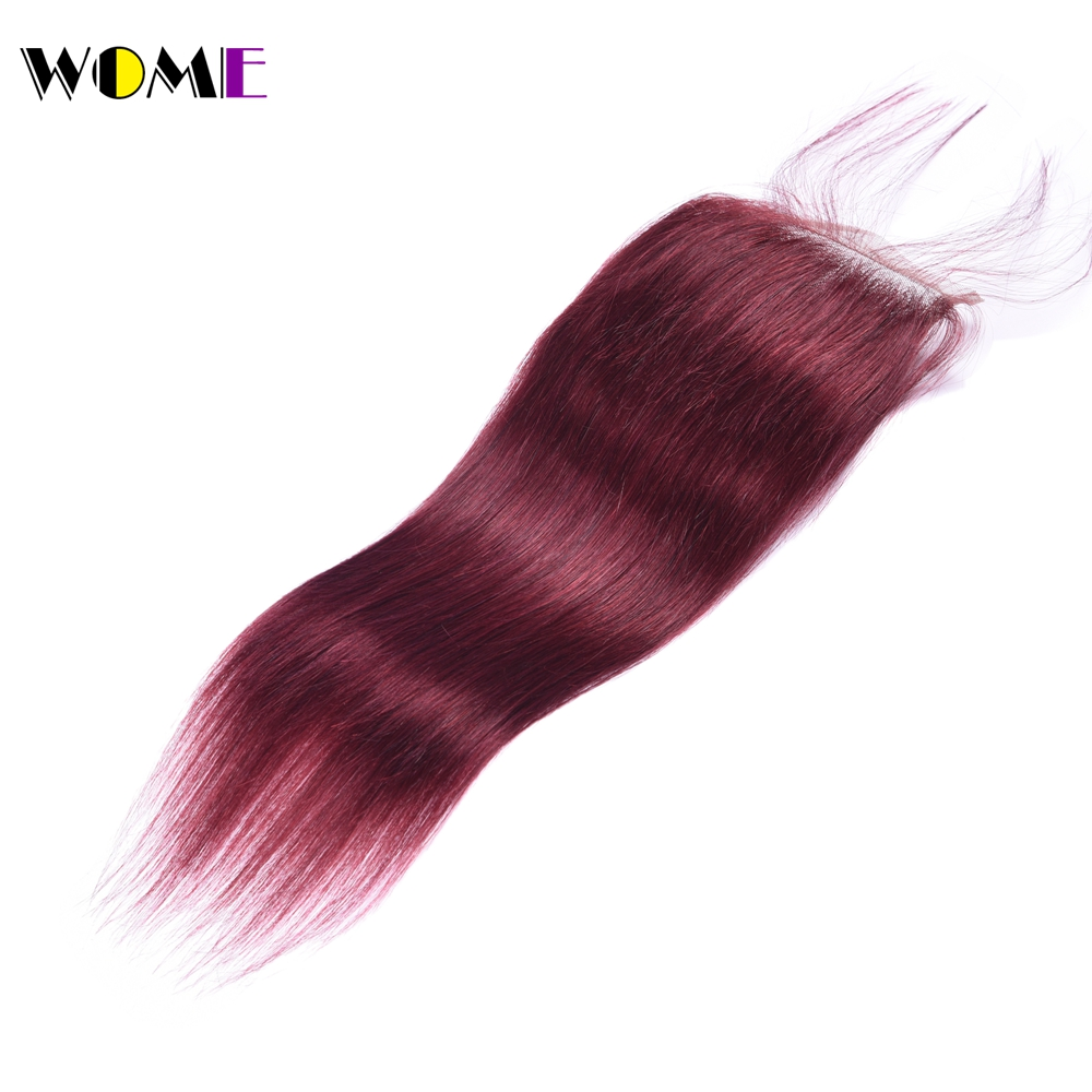 Wome Burmese Straight Hair Closure 99j Red Burgundy Non remy Human Hair Top Lace Closure with