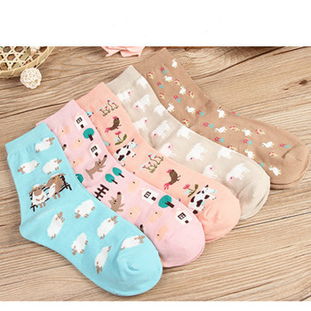 Fashion animal cartoon lady / men kawaii sheep giraffe milk pattern socks cute Harajuku street trend casual funny Japanese Korea